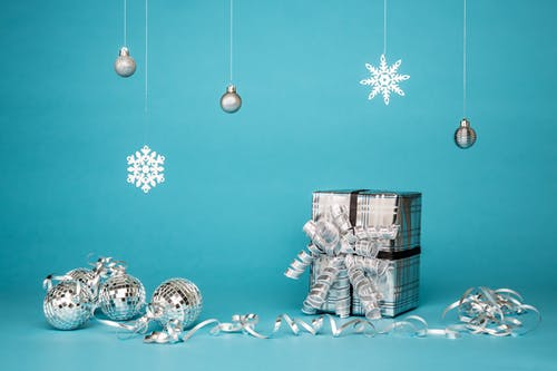 blue and silver gifts ornaments